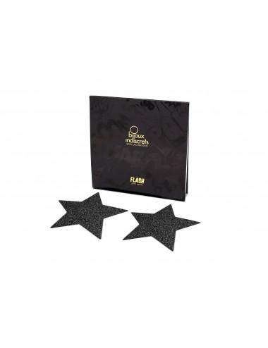 Lingerie - Nipples et accessoires - Cache tétons noires en forme de Etoile noirs avec paillettes Flash - Bijoux Indiscrets