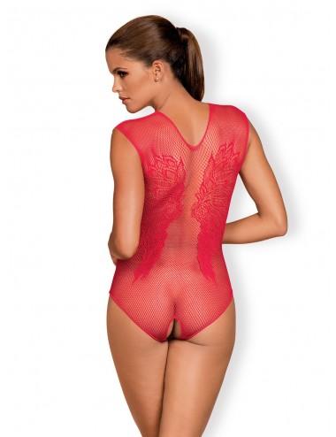 Lingerie - Bodys - Body sexy rouge transparente à motif florale B112 - Obsessive