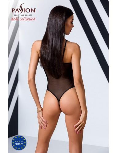Lingerie - Bodys - Body en tulle transparente noire et dentelle avec découpe ajourée Veronique - Passion