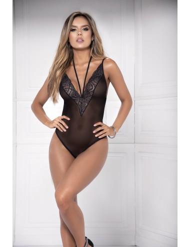 Lingerie - Bodys - Body en dentelle noire transparente et lanières ajustables Style 8476 - Mapalé