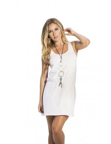 Lingerie - Robes et jupes sexy - Robe courte blanche brodée avec dentelle - MAR4911WHT - Mapalé