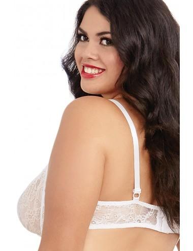 Lingerie - Ensembles de lingerie - Soutien-gorge blanc grande taille demi-bonnets seins nus avec armatures - DG9386XWHT - Dre...