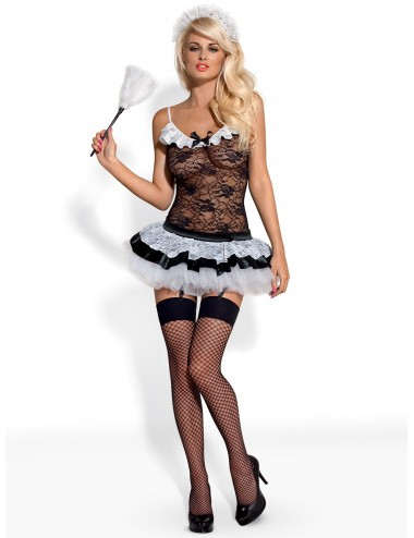 Lingerie - Costumes sexy - Costume en dentelle noire et blanche avec motif Housemaid - OBS-00242 - Obsessive