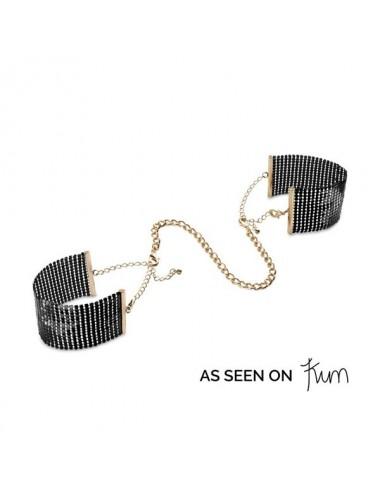 Sextoys - Menottes & accessoires - Désir Métallique Menottes noire avec chaines de poignées ajustables - Bijoux Indiscrets