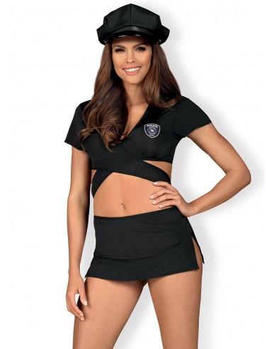 Lingerie - Costumes sexy - Costume sexy 4 pièces noire avec jupe courte et Casquette Police - Obsessive