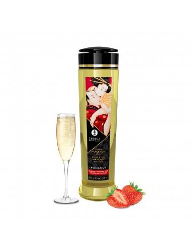 Huile de massage érotique - Romance - Vin pétillant fraise - 240 ml - Huiles de massage - Shunga