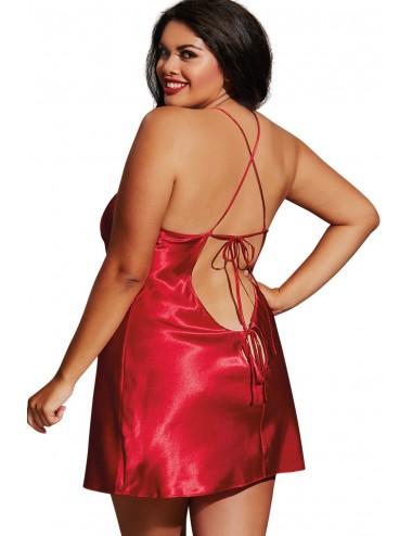 Nuisette grande taille rouge avec peignoir satinés - DG3717XRED