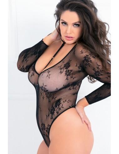 Lingerie - Bodys - Body string noir grande taille en résille avec motif florale et ornement tour de cou - REN7058X-BLK - René...