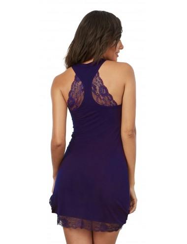 Lingerie - Nuisettes - Chemise de nuit soyeuse, couleur prune - DG11824PLU - Dreamgirl