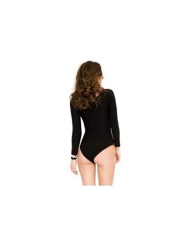 Lingerie - Bodys - Body manches longues, opaque, encolure ronde - ML8170BLK - Music Legs