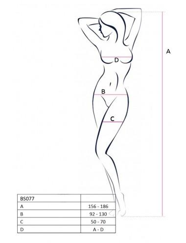 Lingerie - Combinaisons - Bodystocking sexy en large résille blanche et élastique BS077W - Passion Lingerie