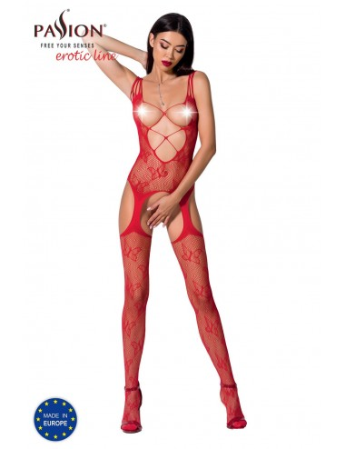 Lingerie - Combinaisons - BS075R Bodystocking - Rouge - Passion Lingerie