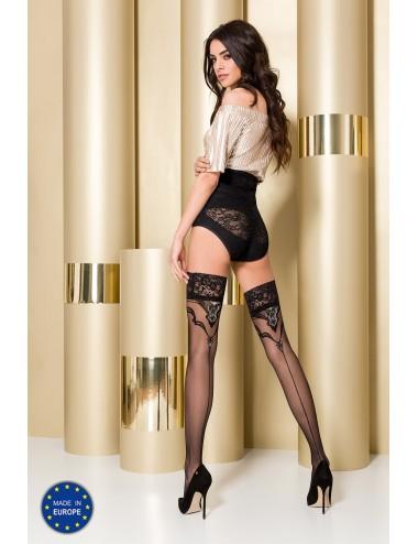 Lingerie - Bas - Bas noire sexy avec jarretières style baroque 20 DEN ST108 - Passion Lingerie