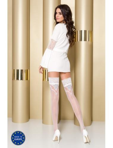 Lingerie - Bas - Bas sexy blanche avec jarretière argentée 20 DEN ST108 - Passion Lingerie