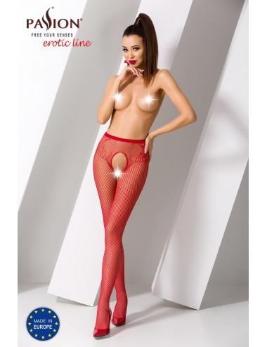 Lingerie - Bas - S019R Collants ouverts - Rouge  - Passion Lingerie