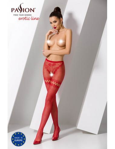 Lingerie - Bas - S015R Collants ouverts - Rouge  - Passion Lingerie