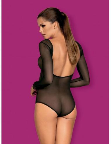 Lingerie - Bodys - Body élastique noire et transparente pour un look femme fatale B124 - Obsessive