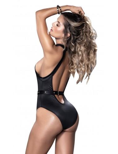 Lingerie - Bodys - Body noir avec harnais intégré - MAL8513BLK - Mapalé