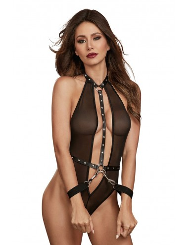 Lingerie - Bodys - Body en filet extensible avec garnitures cloutées en simili cuir - DG11853BLK - Dreamgirl