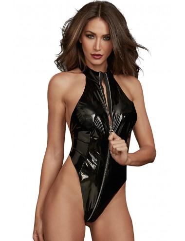 Lingerie - Bodys - Body string noir fétichiste en latex extensible - DG11851BLK - Dreamgirl