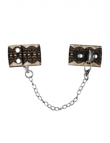 Sextoys - Menottes & accessoires - Menottes menottes élégantes avec chaine noire A746 - Obsessive