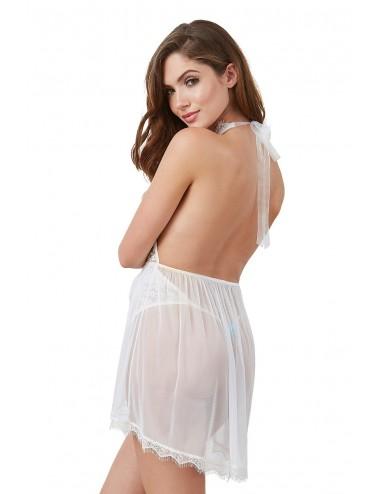 Lingerie - Bodys - Body string blanc avec décolleté effet nuisette ouverte - DG11513WHT - Dreamgirl