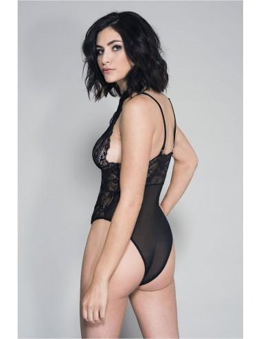 Lingerie - Bodys - Body sexy noir dentelle et maille - ML80046BLK - Music Legs