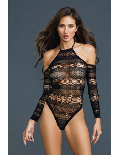 Lingerie - Bodys - Body string ajouré à motifs et épalues nues - DG11287BLK - Dreamgirl