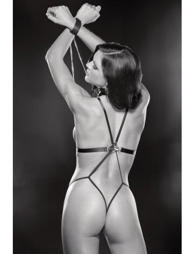Lingerie - Bodys - Body string noir simili cuir et menottes - SOH2170bBLK -