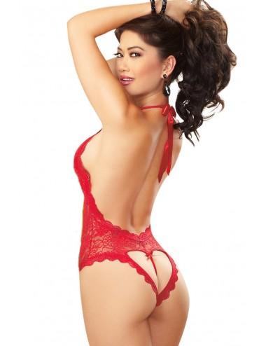 Lingerie - Bodys - Body rouge décolleté plongeant ouverture coeur sur les fesses - DG8694RED - Dreamgirl