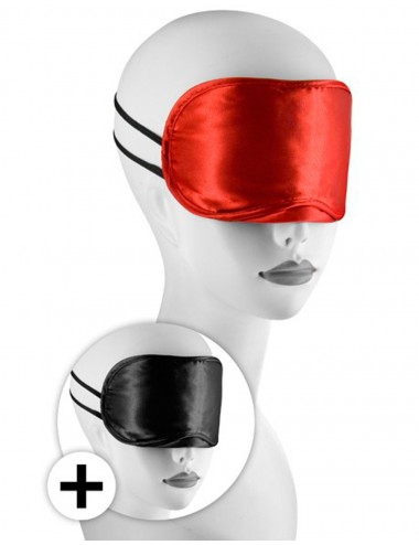 Large masque satin lot de 2 rouge et noir - CC570038