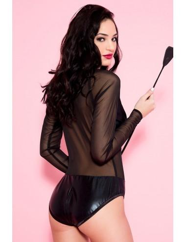 Lingerie - Bodys - Body fétichiste noir wetlook et maille transparente - ML80039BLK - Music Legs