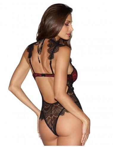 Lingerie - Bodys - Body rouge satinée avec dentelle fils noire bonnets à armatures - DG10537BLR - Dreamgirl