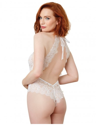 Lingerie - Bodys - Body blanc style broderie avec dos ouvert - DG11025WHT - Dreamgirl