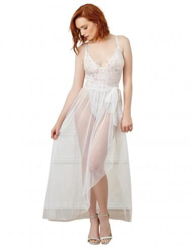 Lingerie - Bodys - Body string blanc échancré dentelle avec jupe de maille transparente amovible - DG10996WHT - Dreamgirl