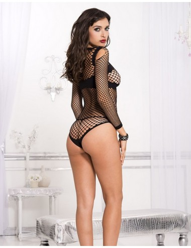 Lingerie - Bodys - Body sexy noir filet très décolleté - ML8208BLK - Music Legs