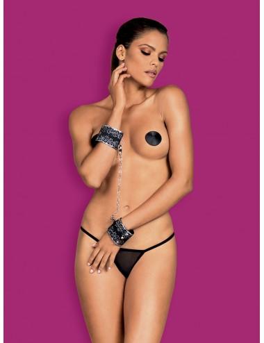 Sextoys - Menottes & accessoires - Menottes décorées de dentelle avec chaine Noir A747 - Obsessive