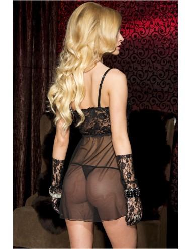 Lingerie - Nuisettes - Nuisette noire poitrine dentelle laçage rose - ML56115BKP - Music Legs