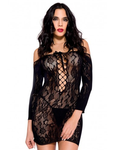 Lingerie - Robes et jupes sexy - Robe sexy noire dentelle épaules nues et décolleté avec laçage - ML6631BLK - Music Legs