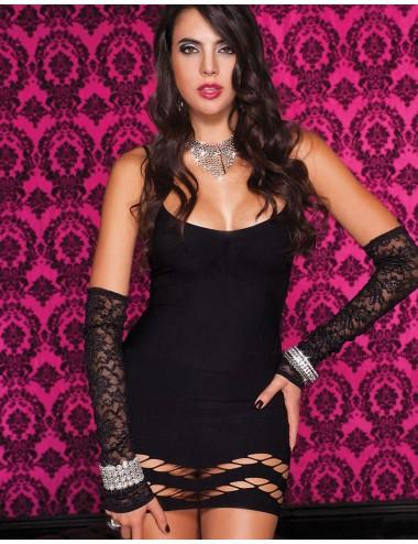 Lingerie - Robes et jupes sexy - Robe sexy noire large décolleté et terminaison ajourée - ML6435BLK - Music Legs