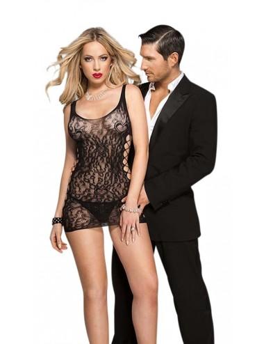 Lingerie - Robes et jupes sexy - Robe sexy libertine noire en dentelle côtés ajourés - ML6796BLK - Music Legs