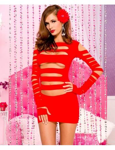 Lingerie - Robes et jupes sexy - Mini robe, avec découpe horizontale sur le devant et les bras - ML6405RED - Music Legs