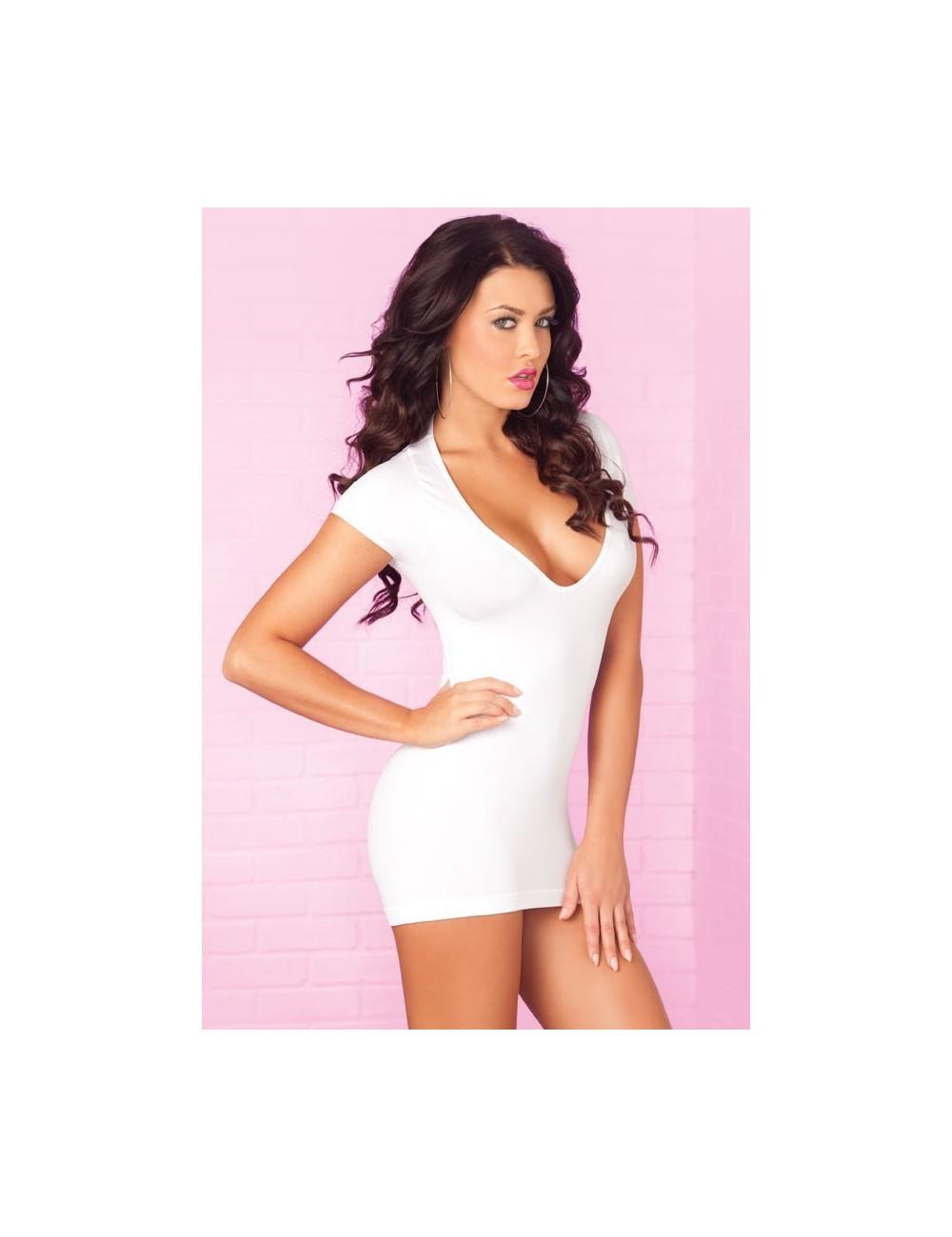 Lingerie - Robes et jupes sexy - Mini robe sexy blanche avec dentelle Party in the Back - PLK25051-WHT - René Rofé