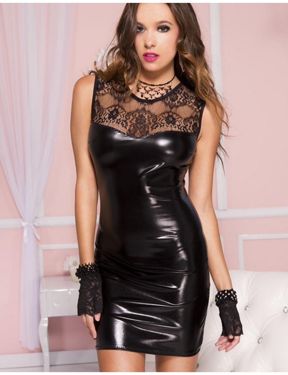Lingerie - Robes et jupes sexy - Robe courte sexy wetlook noir brillant haut dentelle - ML60007BLK - Music Legs