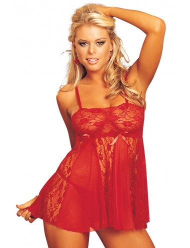 Lingerie - Nuisettes - Nuisette babydoll rouge dentelle et maille - SOH96120RED -