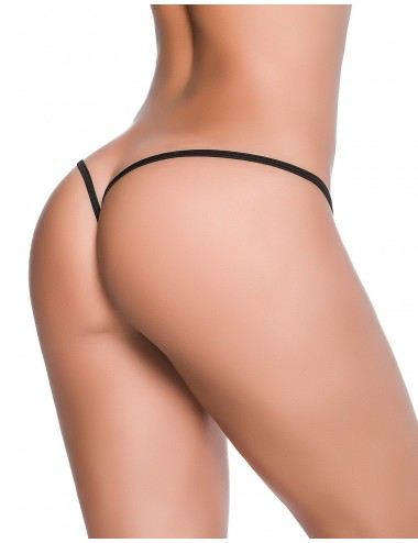 Lingerie - Boxers, strings, culottes - String ficelle invisible sexy noir dos en forme Y - MAL1092BLK - Mapalé