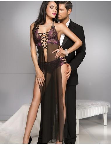 Lingerie - Nuisettes - Nuisette longue fendue noire voile dentelle rose et tanga sexy - ML53004BKP - Music Legs