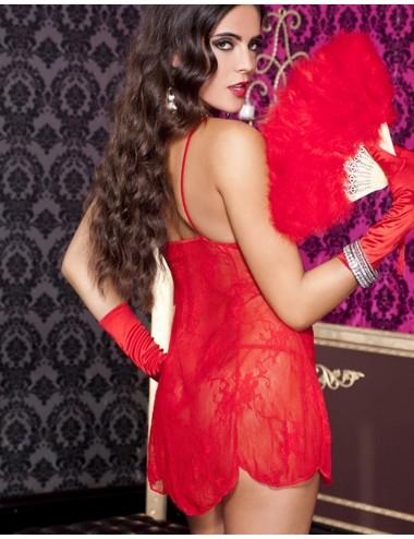 Lingerie - Nuisettes - Nuisette rouge dentelle florale transparente et string - ML6662RED - Music Legs