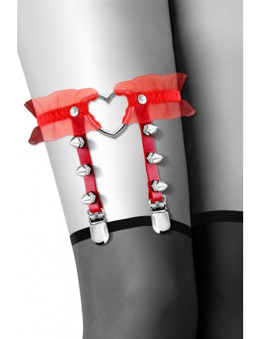 Jarretière rouge avec coeur pointes et tulle - CC6060100030