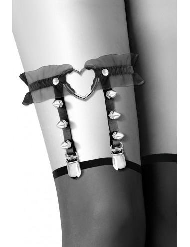 Lingerie - Porte-Jarretelles - Jarretière noire avec coeur pointes et tulle - CC6060100010 - Bijoux Pour Toi